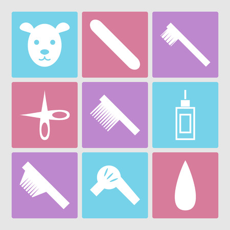 grooming: Dog grooming icons set or pet hair salon Illustration