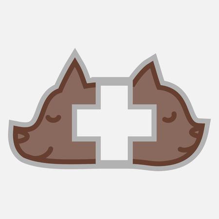 Veterinary cross and pets logo isolated Vector
