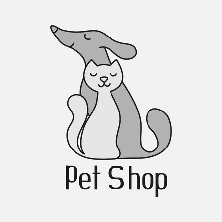 pet services: Cat and dog sign for pet shop logo