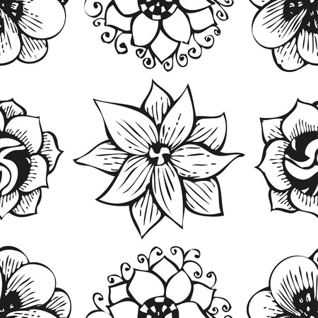 doodling: Floral doodling flower seamless pattern in tattoo style