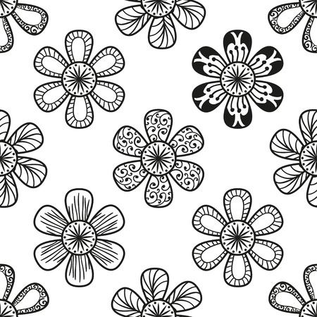 doodling: Floral doodling seamless pattern in tattoo style with flowers Illustration