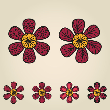 doodling: Floral doodling flowers set in tattoo style