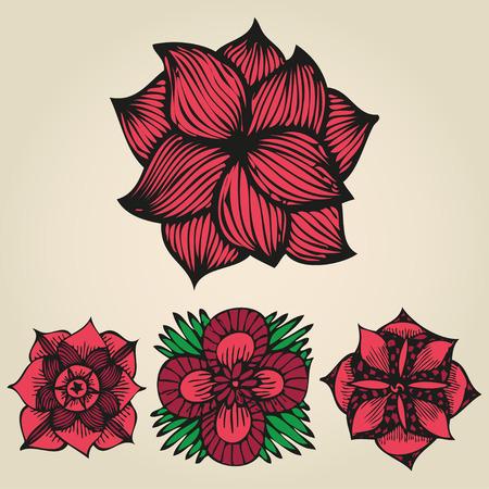 Bloemen doodling bloemen in tattoo stijl Stock Illustratie