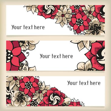doodling: Set of horizontal banners with floral doodling flowers Illustration