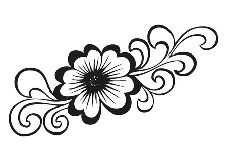 doodling: Doodling flower in tattoo style