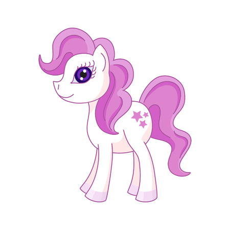 pony tail: Vector illustration of cute horse