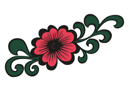 Doodling colorful flower in tattoo style Vector