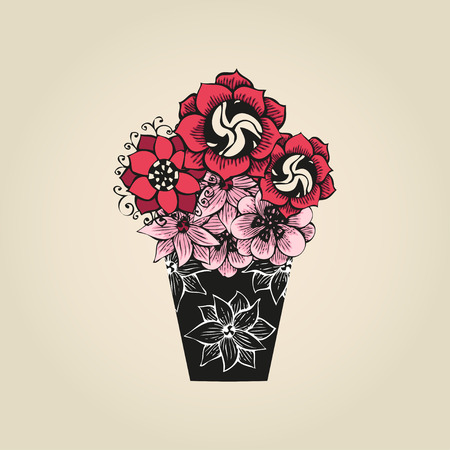 Hand drawn tattoo flowers in black vase Vector