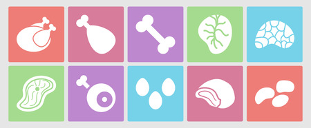 offal: Flat icons set for web: meat, eggs, offal and bones