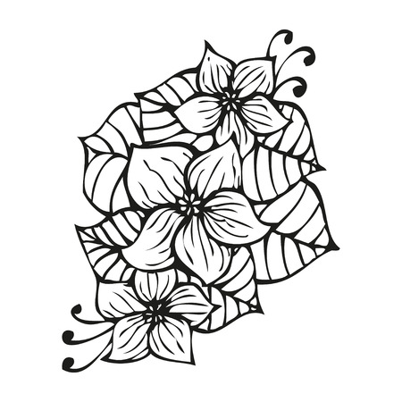 Amazing black flowers in tattoo style