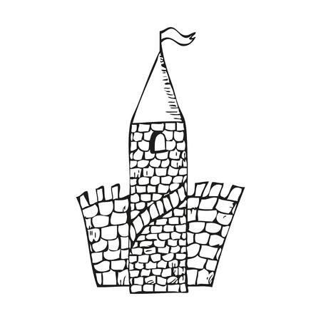 castello fiabesco: Castello di favola in stile tatuaggio