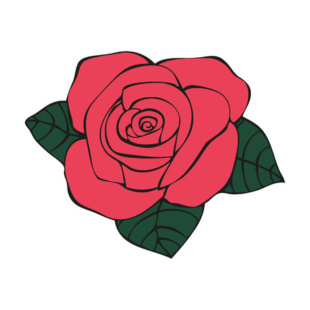 rose tattoo: Rose in tattoo style, hand drawn flower, vector illustration