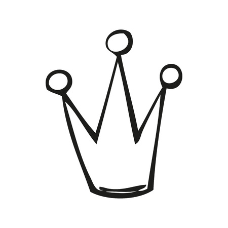 lowbrow: Fairytale crown in tattoo style, hand drawn vector illustration Illustration