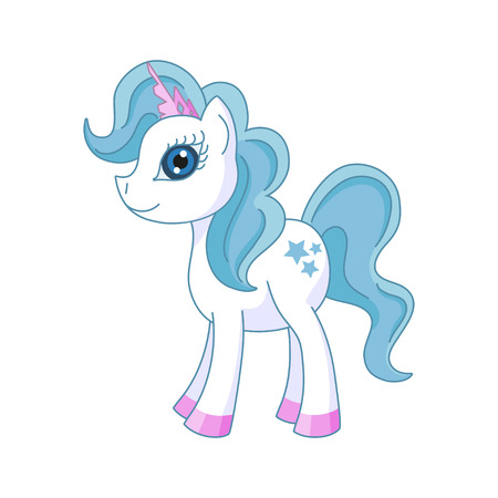 Vector illustration of cute horse princess, royal pony with a magnificent mane and tail