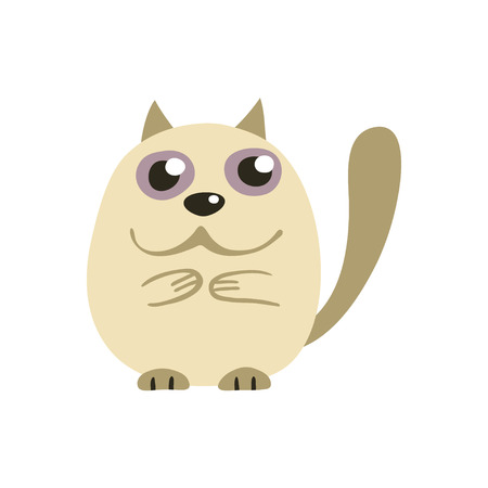 whisker characters: Cute white Siamese cat, vector illustration of funny kitty Illustration