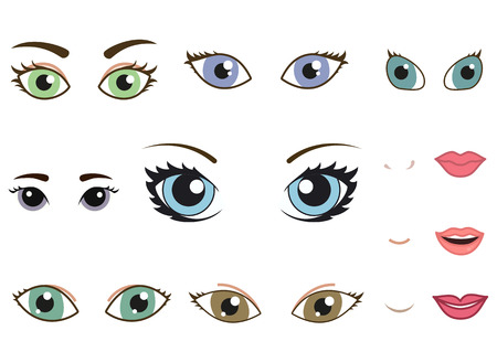 eyebrows: Set of different human eyes, eyebrows, noses and lips, cartoon girl face elements. Vector illustration