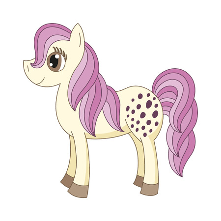 mane: Vector illustration of cute horse, romantic pony with a magnificent mane and tail
