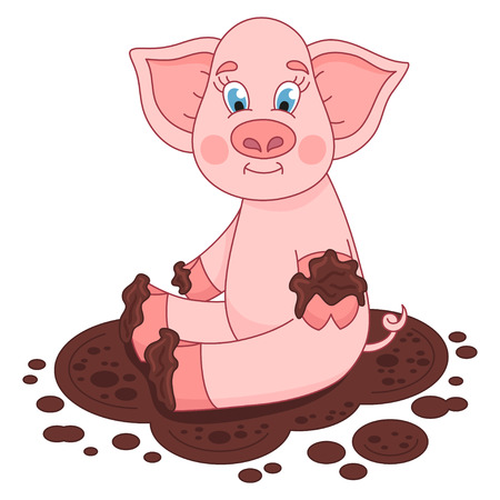laps: Cute pig in a puddle, funny piggy sits, laps and smile on dirt puddle, vector illustration