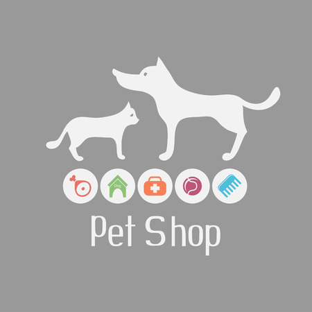 pets background: Cat and dog sign for pet shop logo and what they needs for pet salon or store icons, vector illustration