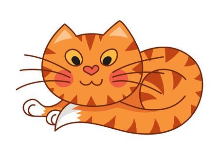 curtailed: Cartoon plump kitty, vector illustration of funny cute red striped cat with kind muzzle, cat smiling and lying comfortably curtailed