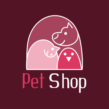 shop for animals: Cat, dog and bird of tender embrace, animals are the best friends, sign for pet shop logo, vector illustration