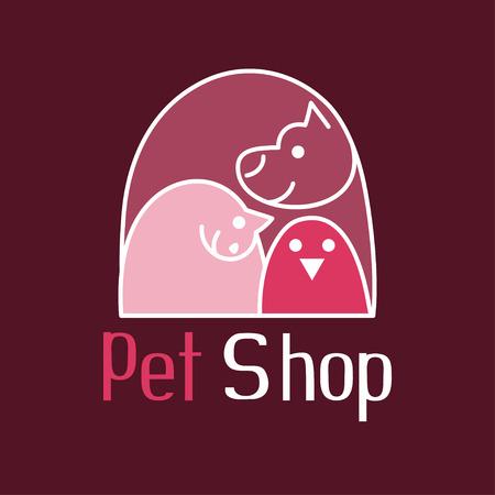 animalitos tiernos: Gato, el perro y p�jaro de tierno abrazo, los animales son los mejores amigos, signo de la tienda de animales logotipo, ilustraci�n vectorial