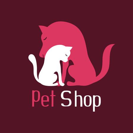 Cat and dog tender embrace, best friends, sign for pet shop logo, vector illustration Illustration