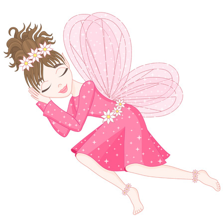 Cute fairy in bright pink dress with transparent wings is sleeping, vector illustration, eps 10 Illustration