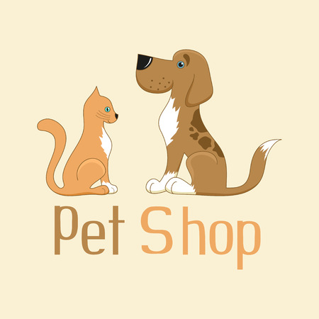 Cute cartoon cat and dog sign for pet shop logo, vector illustration