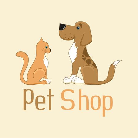Cute cartoon cat and dog sign for pet shop logo, vector illustration