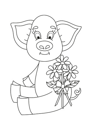 tied up: Vector illustration of cute pig giving bouquet of camomiles tied up by a ribbon, coloring book page for children