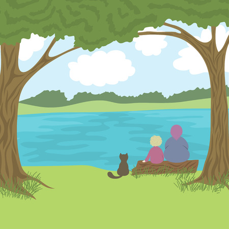 river vector: Beautiful landscape with grandmother, grandson and cat sitting on log and admire a nature, coast, trees, river, hills, sky with clouds, vector illustration