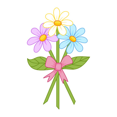 tied up: Cute bouquet of camomiles tied up by a ribbon, flowers like aster, pyretrum or coreopsis, vector illustration