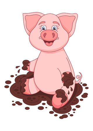 cute pig: Vector illustration of cute pig in a puddle, funny piggy sits and smiling on dirt puddle