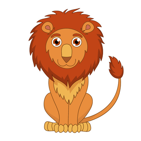 mane: Cute cartoon lion with fluffy mane and kind muzzle. Vector illustration Illustration