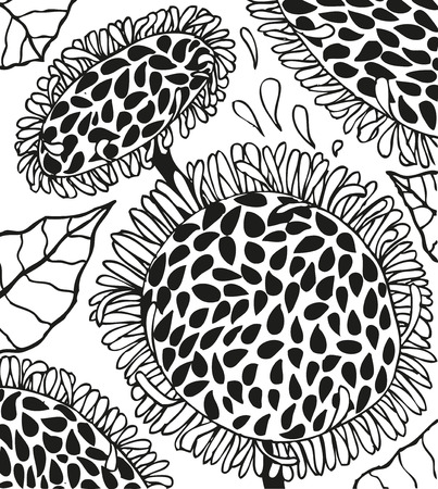 stalks: Background with doodling hand drawn sunflowers with seeds and petals grow on stalks, petals fly, vector illustration