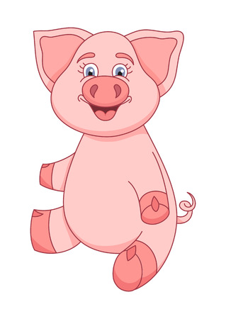 pig cartoon: Vector illustration of cute pig, funny piggy sitting and smiling Illustration