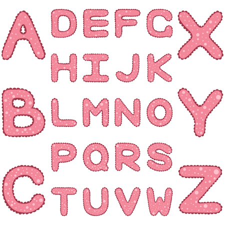 girlish: Romantic girlish alphabet with ruches and spots, hand drawn ABC, vector illustration