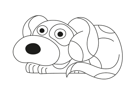 surprising: Cartoon puppy, vector illustration of cute dog surprising, coloring book page for children