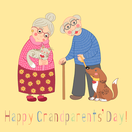 mature old generation: Happy grandparents day card. Poster with cute darling grandmother and grandfather, granny and grandpa, their cat and dog on leash, vector illustration