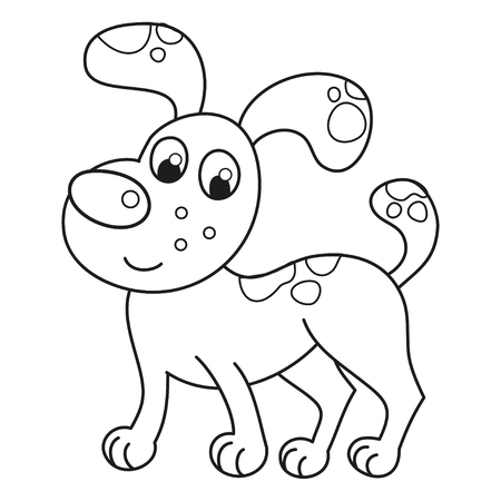 loveable: Cartoon smiling spotty puppy, vector illustration of cute naughty dog standing, coloring book page for children Illustration