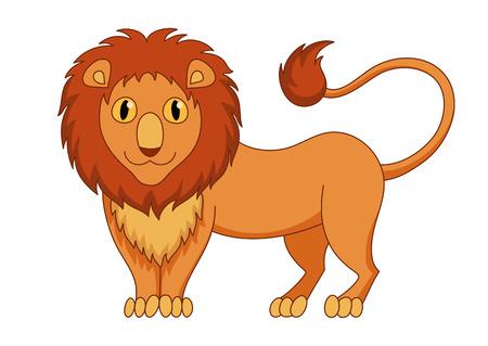 selva caricatura: León lindo de la historieta con la melena esponjosa modesto y amable hocico, león sonrisa y mirada. Ilustración vectorial
