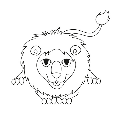mane: Cute cartoon smiling lion lying with fluffy mane and kind muzzle, lion laughing and stretching. Vector illustration, coloring book page for children Illustration
