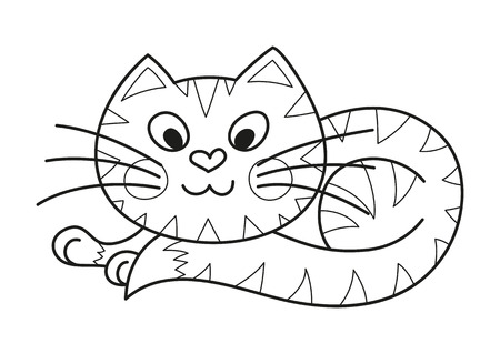 Cartoon plump kitty, vector illustration of funny cute striped cat with kind muzzle, cat smiling and lying comfortably curtailed, coloring book page for children Illustration