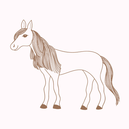 mare: Cute hand drawn horse, drawing of mare with long mane and tail, vector illustration Illustration