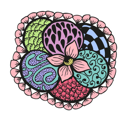 Colorful doodling hand drawn amazing flower with patterns, vector illustration