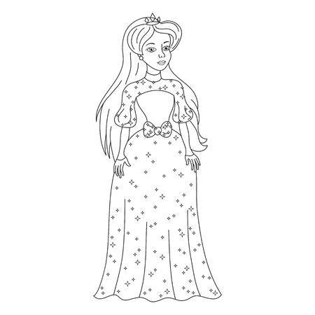 modest fashion: Beautiful princess, gentle princess in modest womanly dress with spangles Illustration