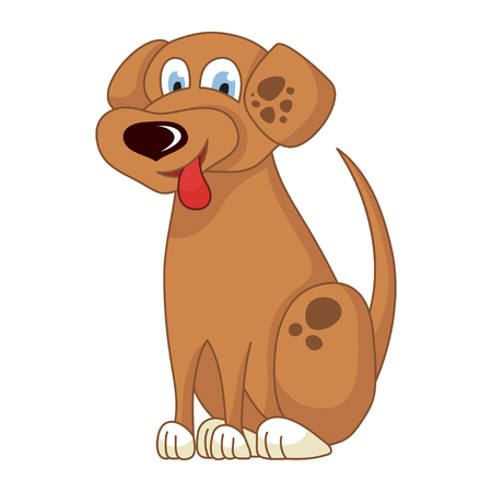 loveable: Cartoon smiling light brown spotty puppy