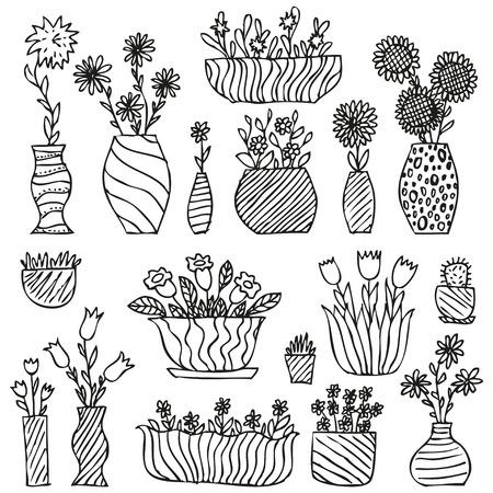手描き観葉植物、ポット、gloxinia バルサム チューリップ アスター デイジーひまわり草サボテン カモミール手ベル花花瓶スケッチで、ベクトル イラ  イラスト・ベクター素材