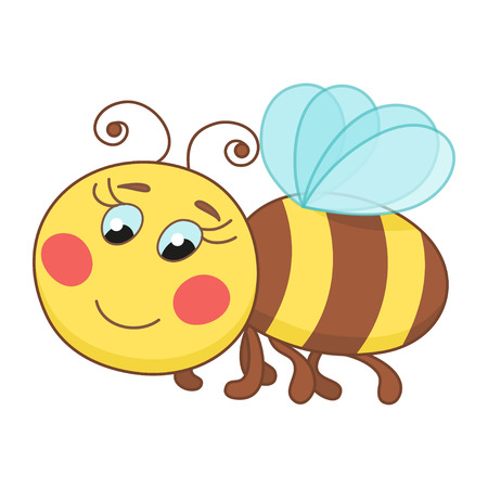 yellow art: Cute cartoon bee, funny ruddy bee flying